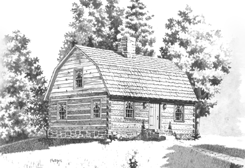 CADSmith New England Gambrel house plan with 1st floor bedroom, 3